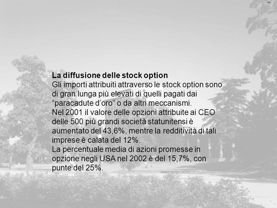 La diffusione delle stock option
