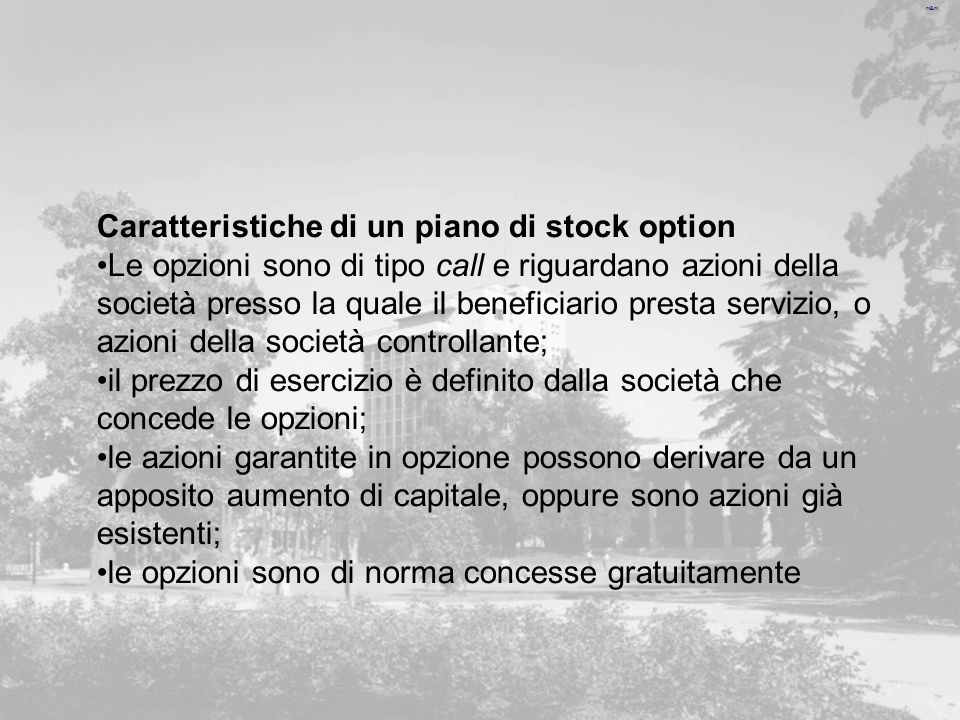 Caratteristiche di un piano di stock option