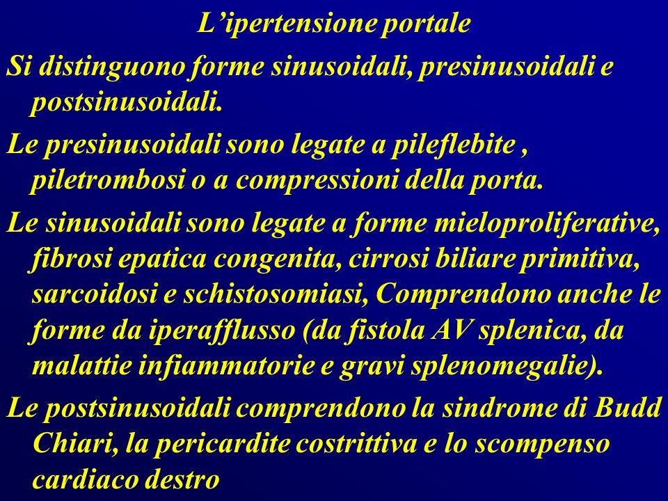 L'ipertensione portale Si distinguono forme sinusoidali, presinusoidali e postsinusoidali.