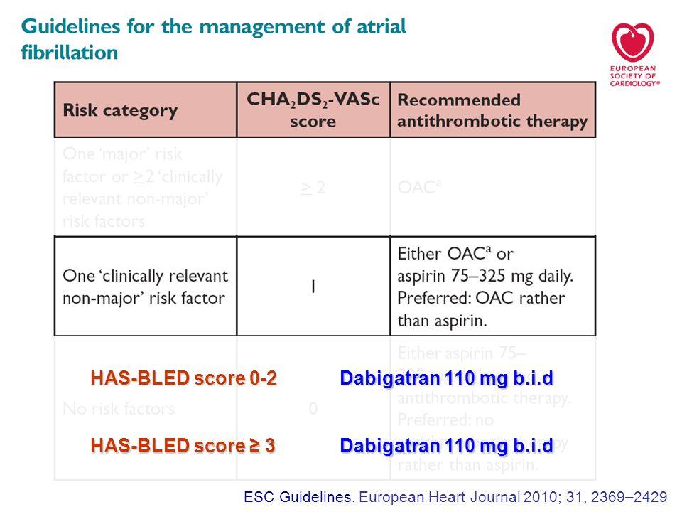 HAS-BLED score 0-2 Dabigatran 110 mg b.i.d HAS-BLED score ≥ 3