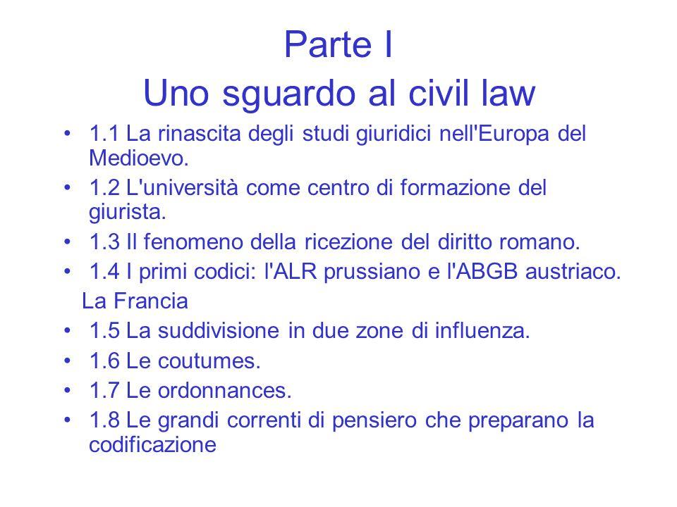 Parte I Uno sguardo al civil law