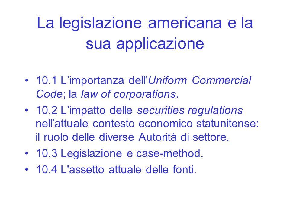 La legislazione americana e la sua applicazione