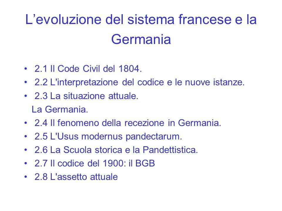 L'evoluzione del sistema francese e la Germania