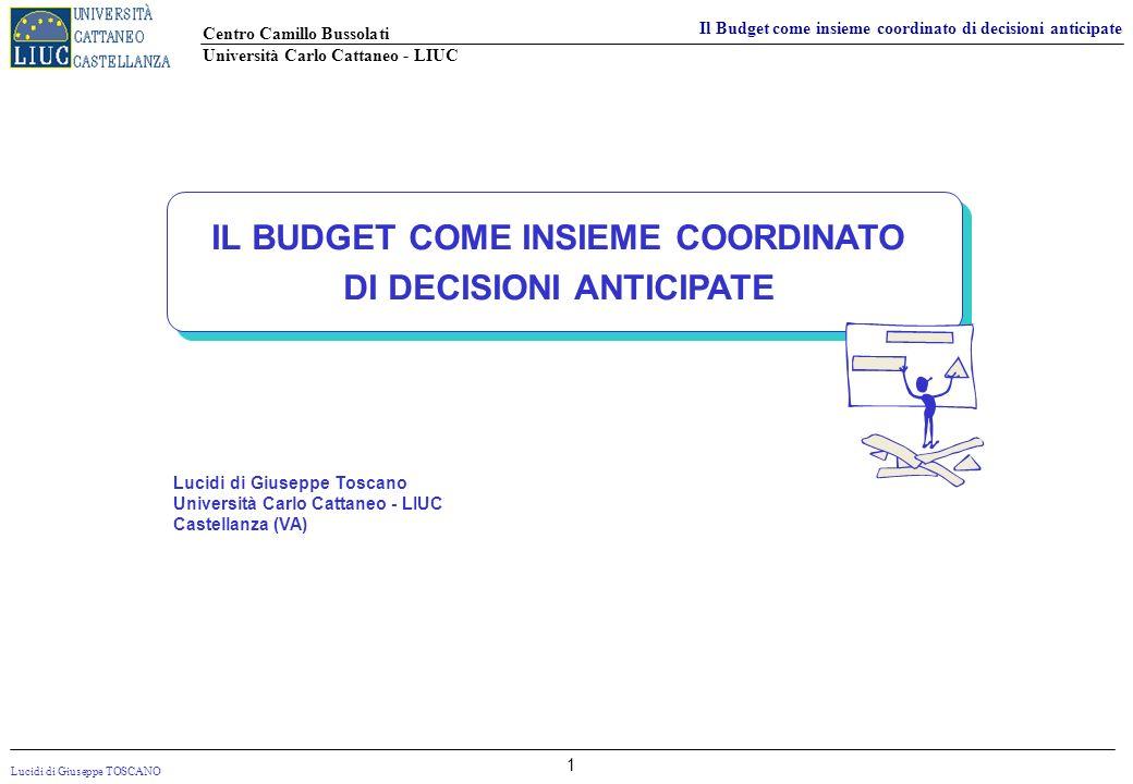 IL BUDGET COME INSIEME COORDINATO DI DECISIONI ANTICIPATE