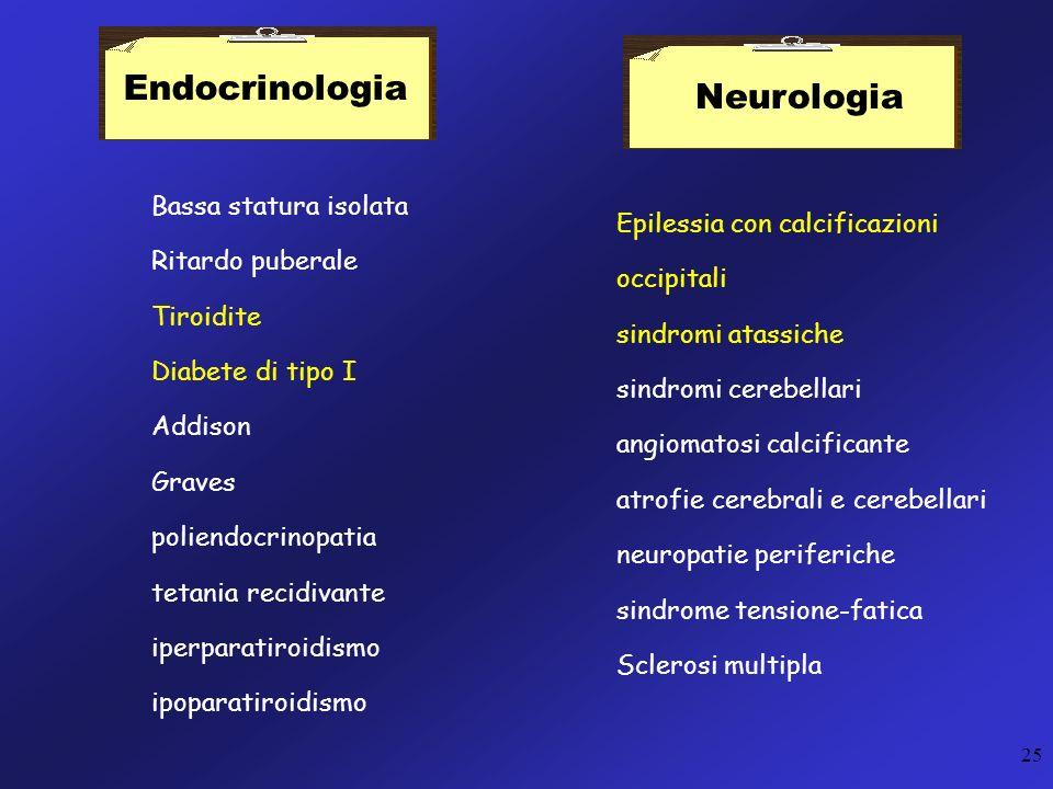 Endocrinologia Neurologia Bassa statura isolata Ritardo puberale
