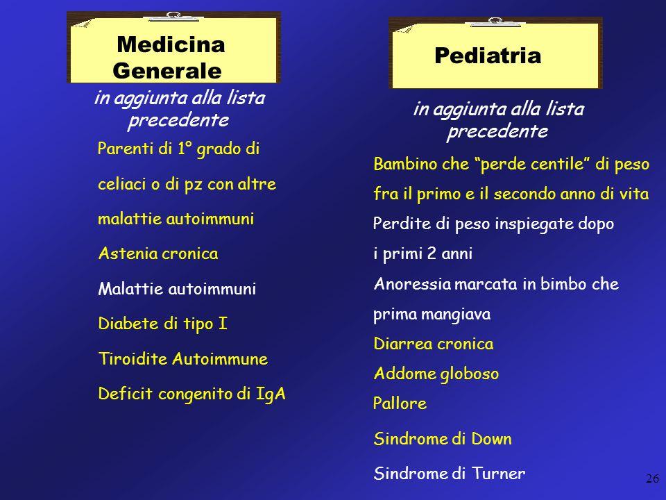 Medicina Generale Pediatria in aggiunta alla lista precedente