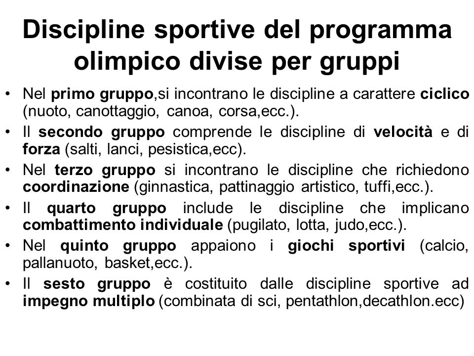 Discipline sportive del programma olimpico divise per gruppi