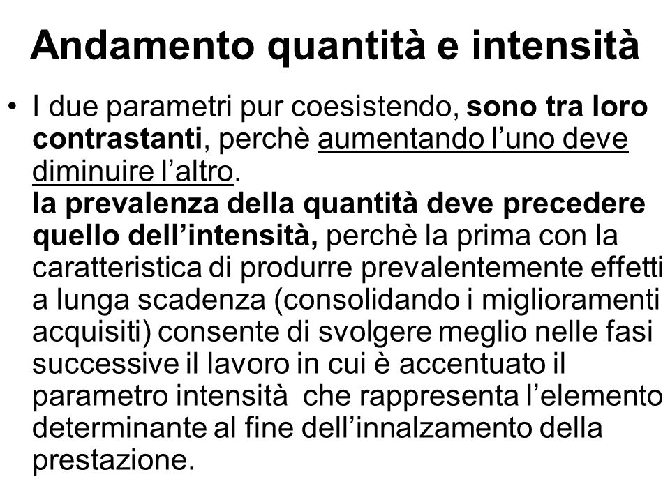 Andamento quantità e intensità