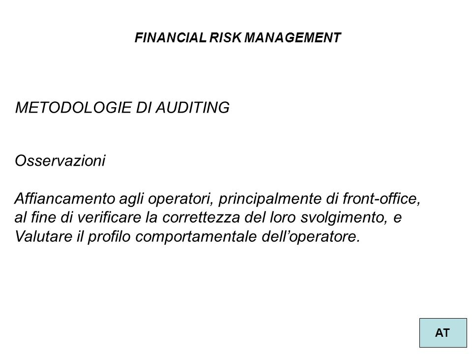 METODOLOGIE DI AUDITING