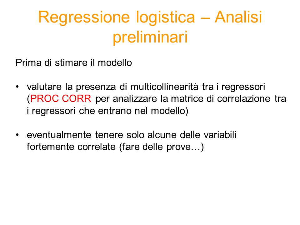 Regressione logistica – Analisi preliminari