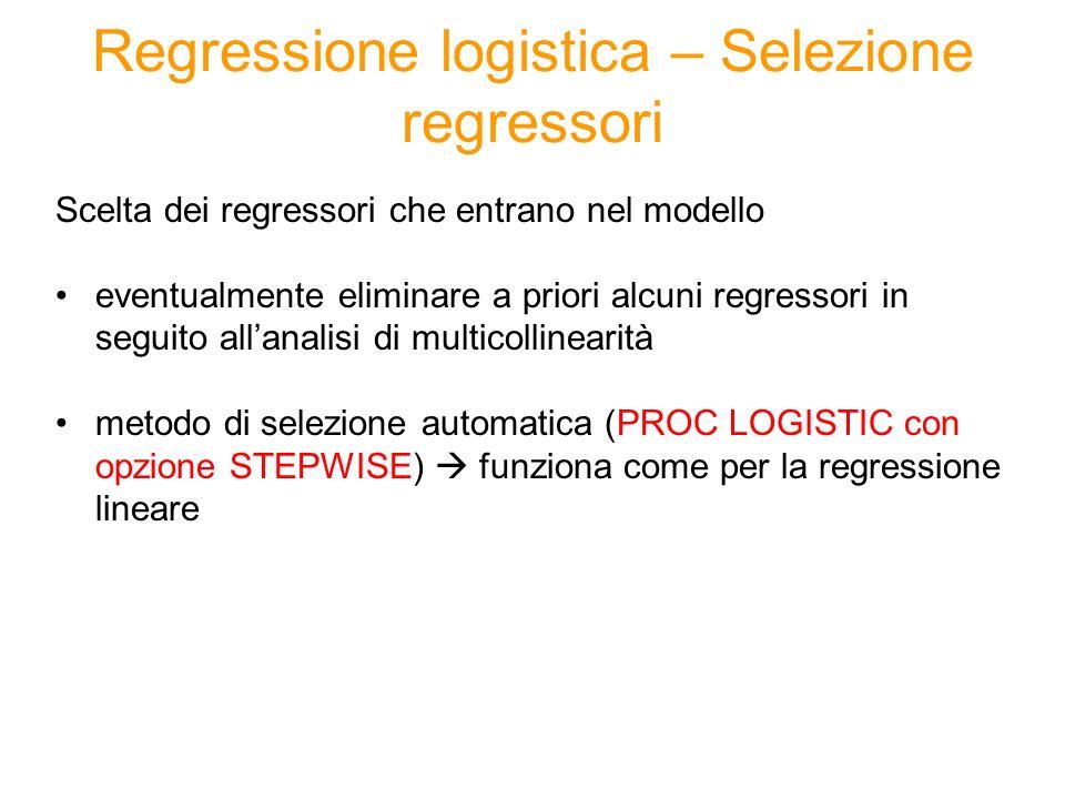 Regressione logistica – Selezione regressori