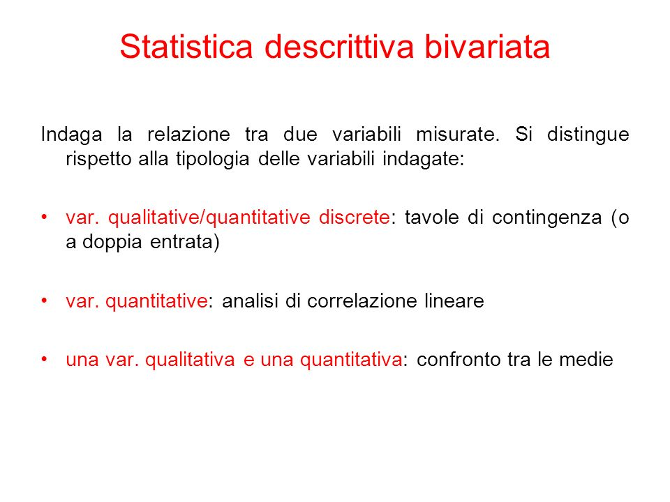 Statistica descrittiva bivariata
