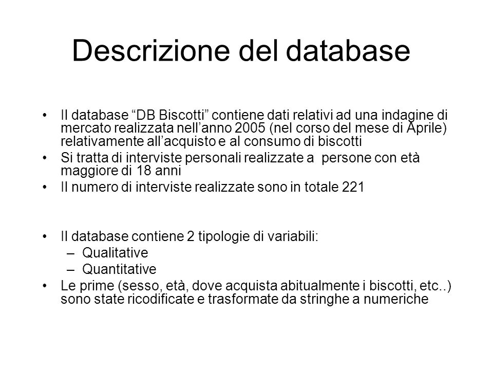 Descrizione del database