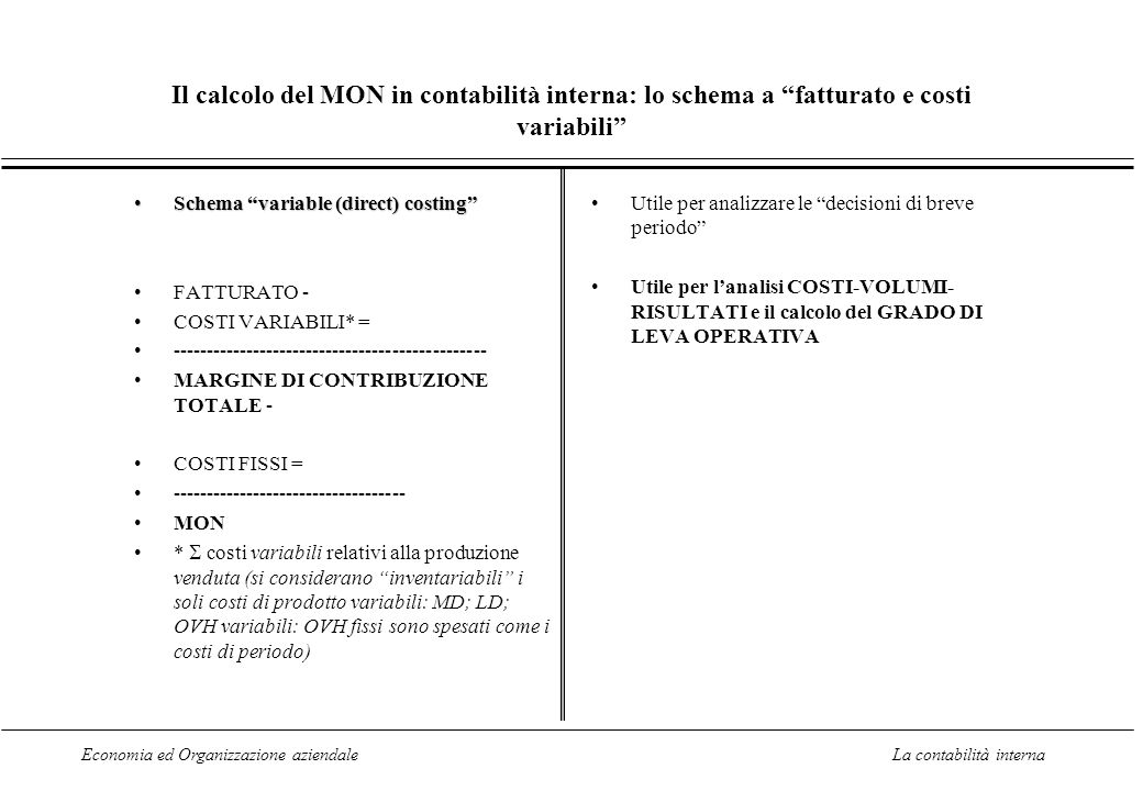 Il calcolo del MON in contabilità interna: lo schema a fatturato e costi variabili