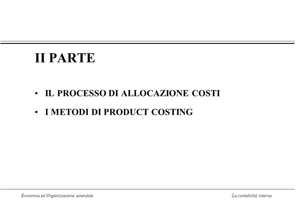 II PARTE IL PROCESSO DI ALLOCAZIONE COSTI I METODI DI PRODUCT COSTING