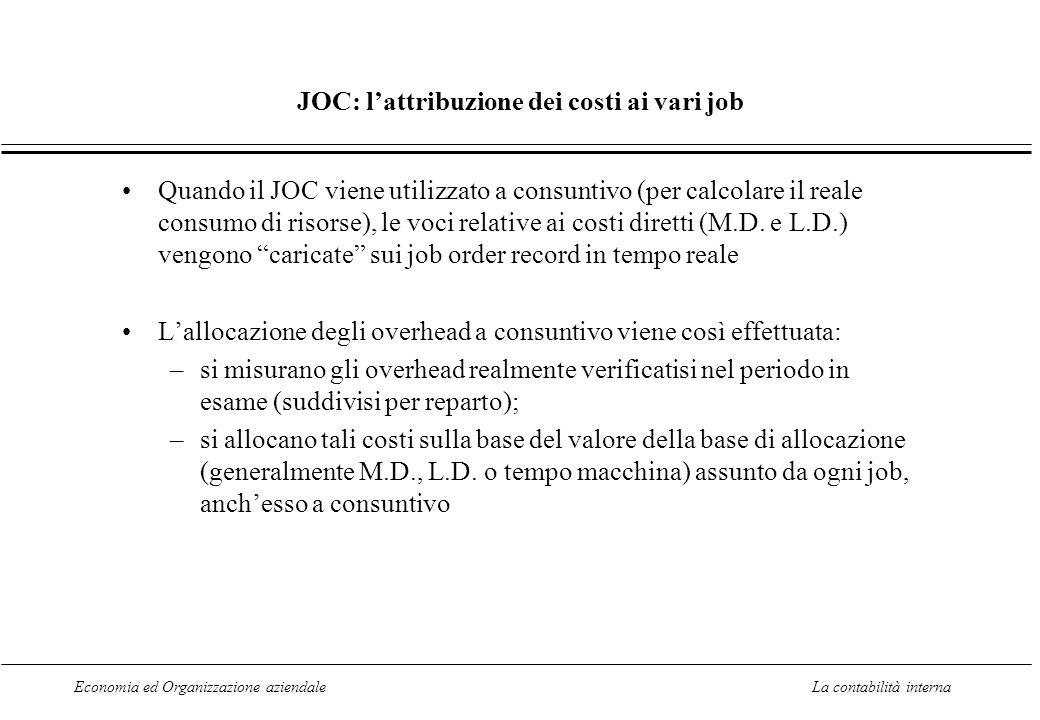 JOC: l'attribuzione dei costi ai vari job