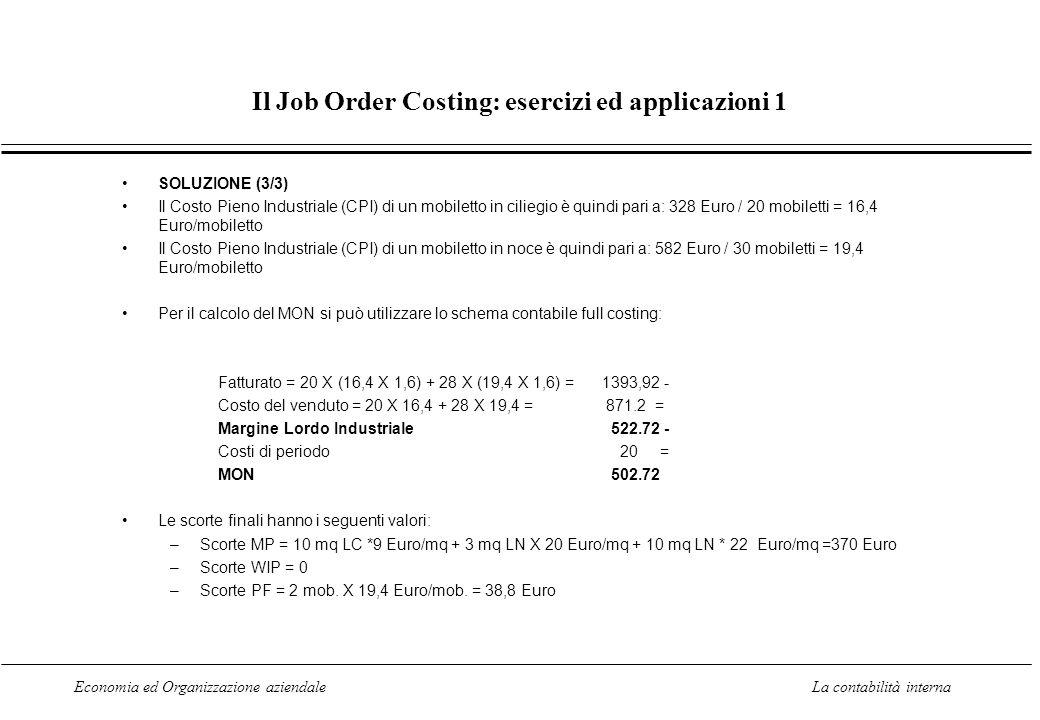 Il Job Order Costing: esercizi ed applicazioni 1