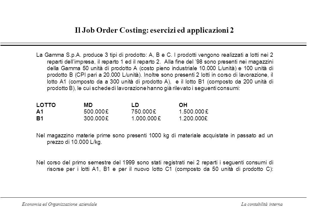 Il Job Order Costing: esercizi ed applicazioni 2