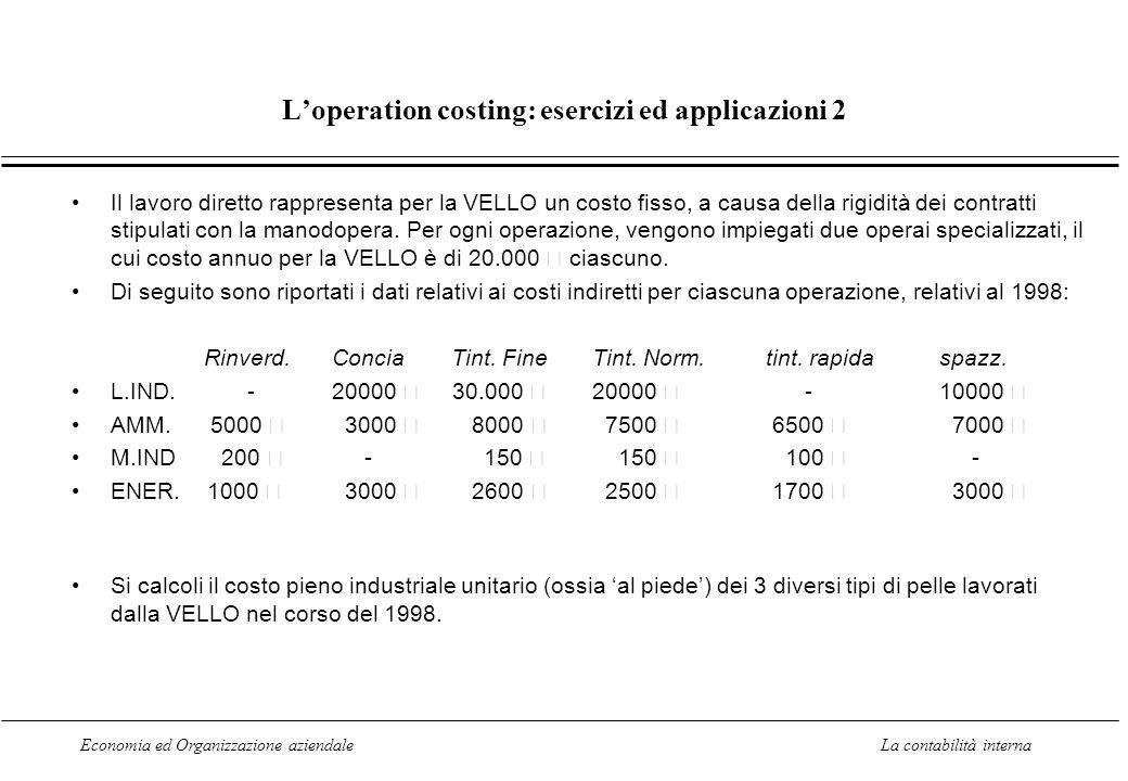 L'operation costing: esercizi ed applicazioni 2
