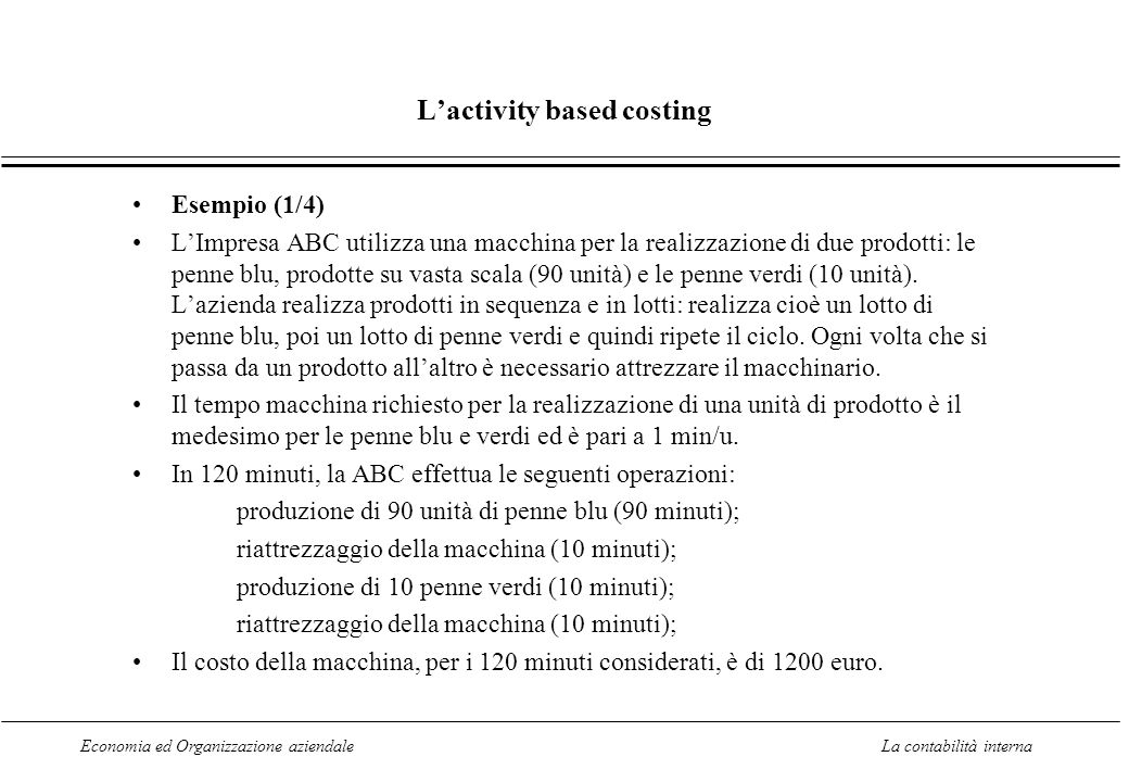 L'activity based costing