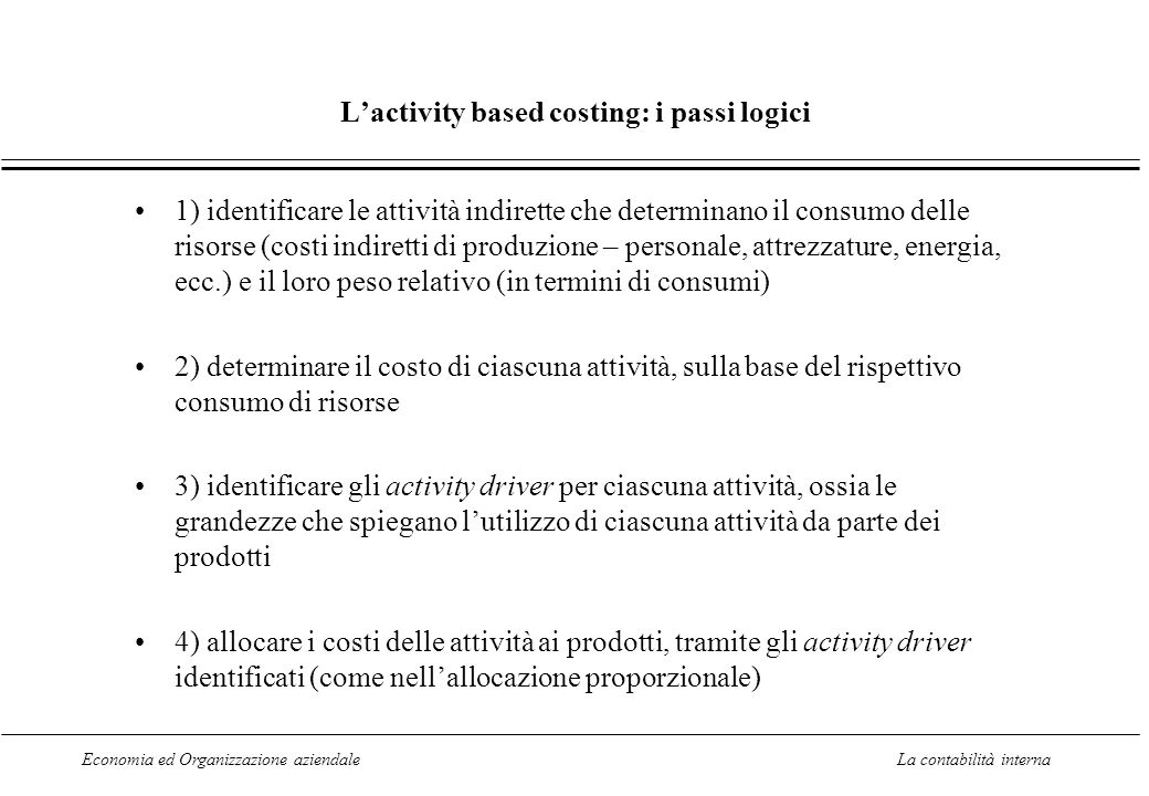 L'activity based costing: i passi logici