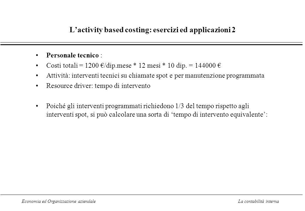 L'activity based costing: esercizi ed applicazioni 2