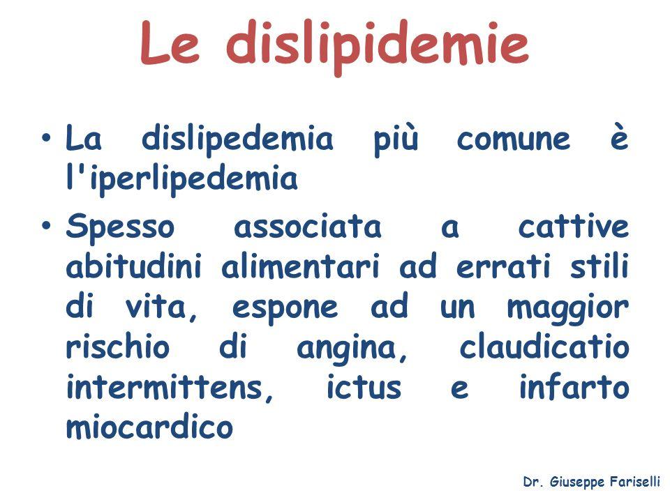 Le dislipidemie La dislipedemia più comune è l iperlipedemia