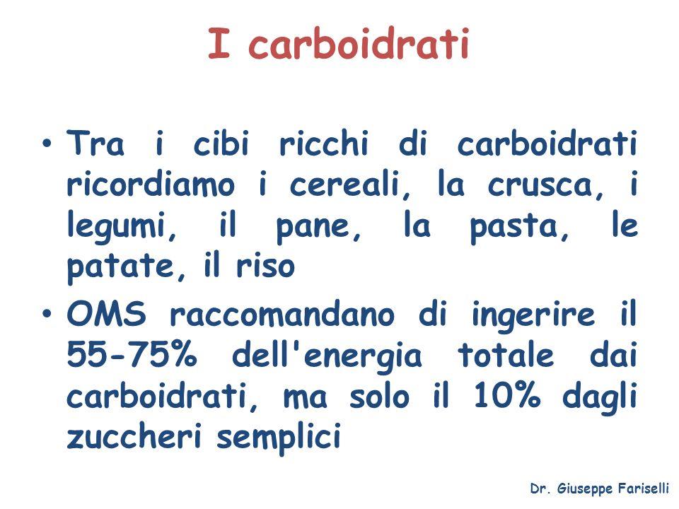 I carboidrati Tra i cibi ricchi di carboidrati ricordiamo i cereali, la crusca, i legumi, il pane, la pasta, le patate, il riso.