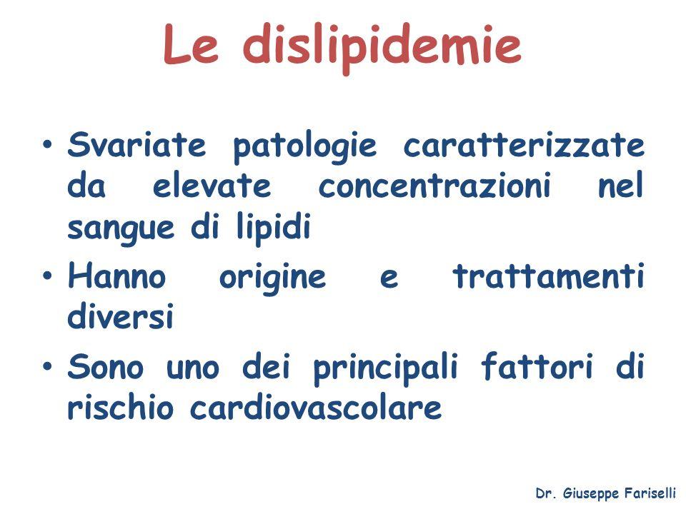 Le dislipidemie Svariate patologie caratterizzate da elevate concentrazioni nel sangue di lipidi. Hanno origine e trattamenti diversi.