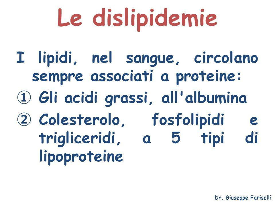 Le dislipidemie I lipidi, nel sangue, circolano sempre associati a proteine: Gli acidi grassi, all albumina.