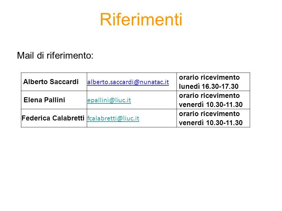 Riferimenti Mail di riferimento: Alberto Saccardi