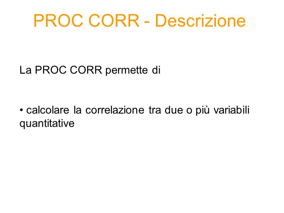 PROC CORR - Descrizione