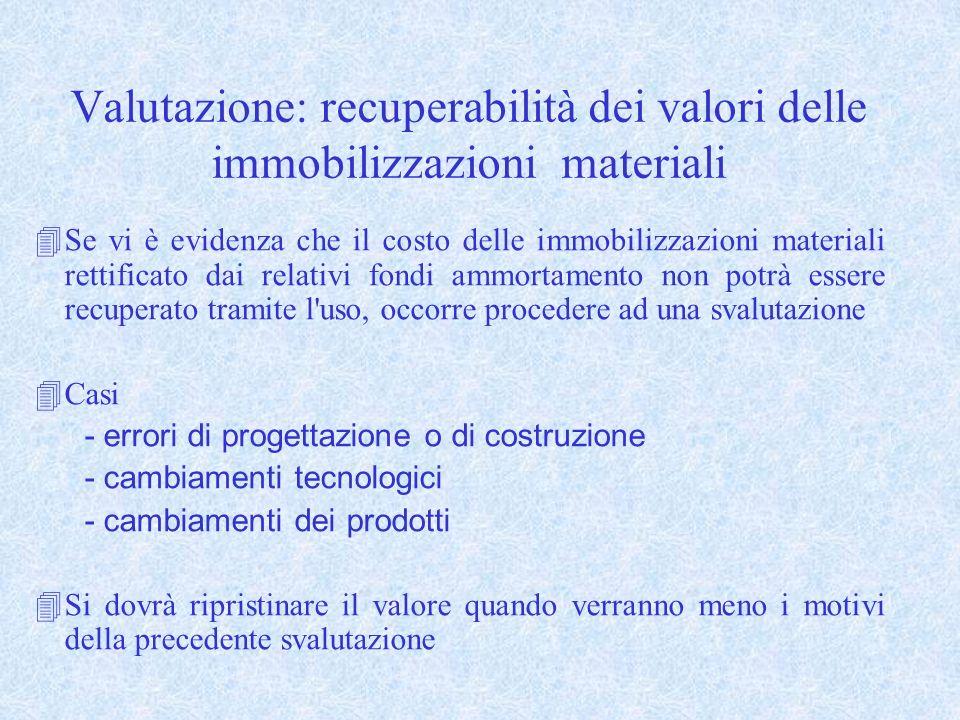 Valutazione: recuperabilità dei valori delle immobilizzazioni materiali