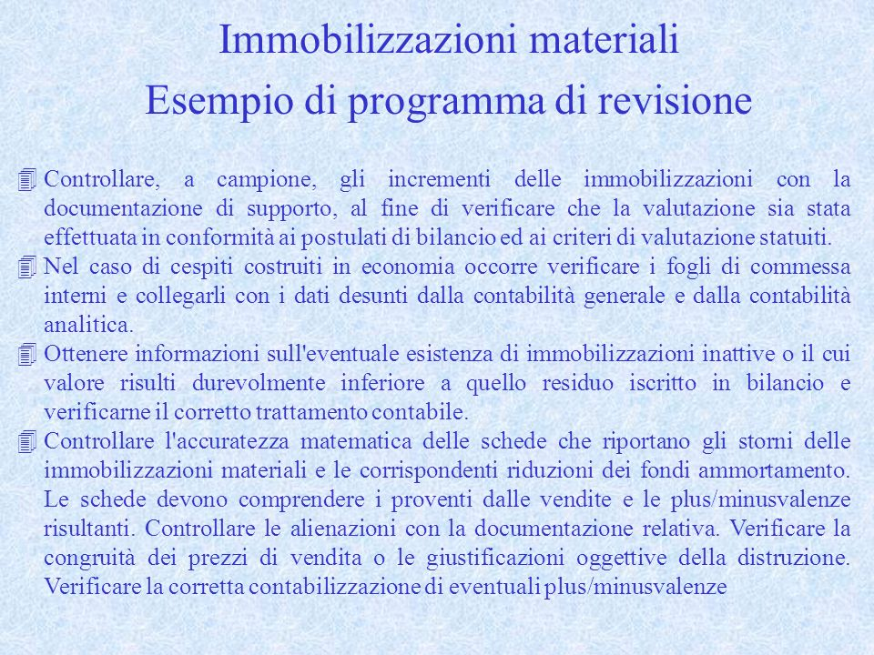 Immobilizzazioni materiali Esempio di programma di revisione