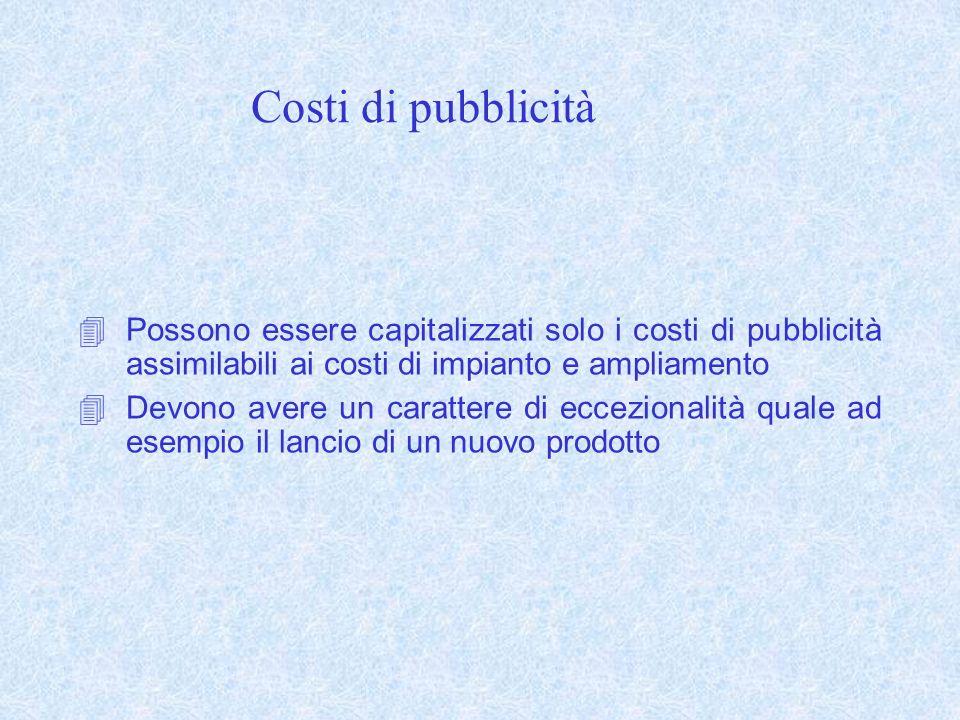 Costi di pubblicità Possono essere capitalizzati solo i costi di pubblicità assimilabili ai costi di impianto e ampliamento.