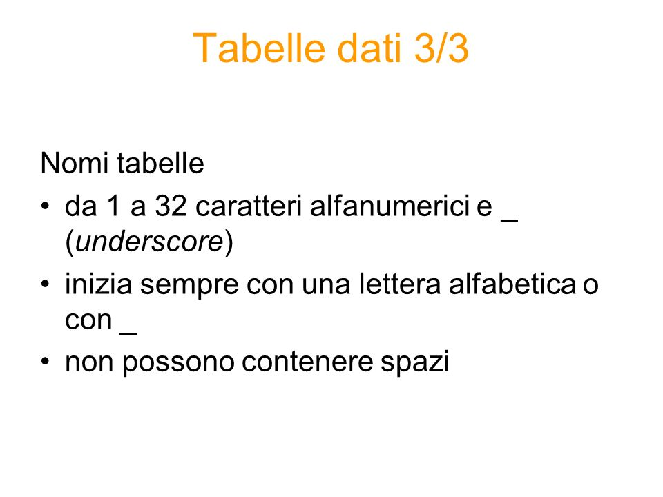 Tabelle dati 3/3 Nomi tabelle