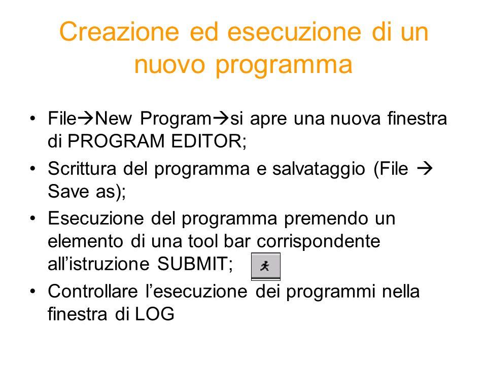 Creazione ed esecuzione di un nuovo programma
