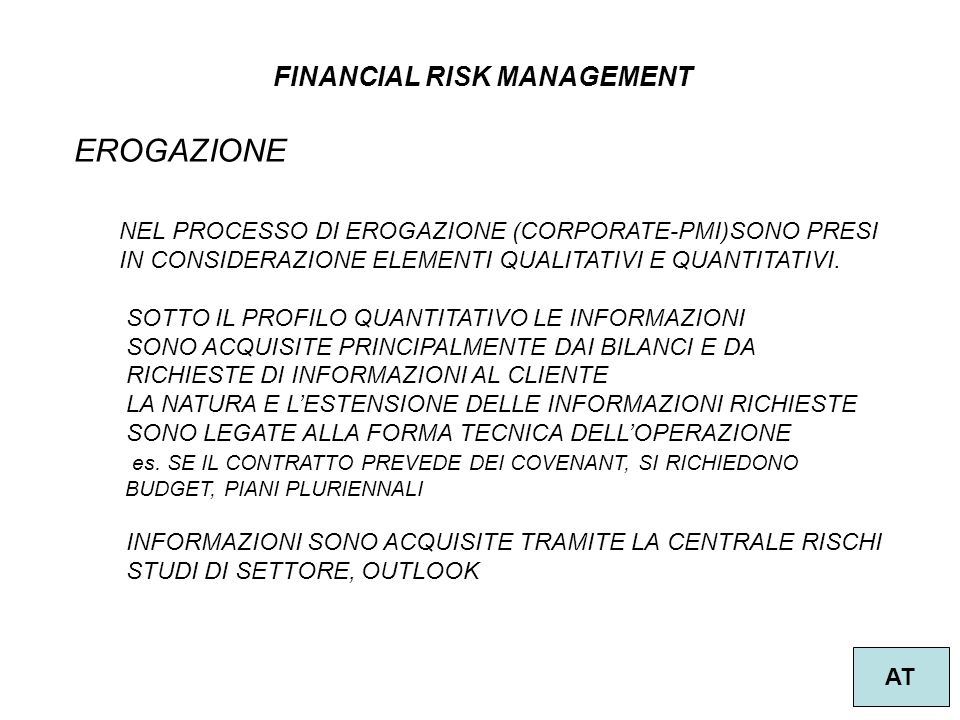 EROGAZIONE FINANCIAL RISK MANAGEMENT