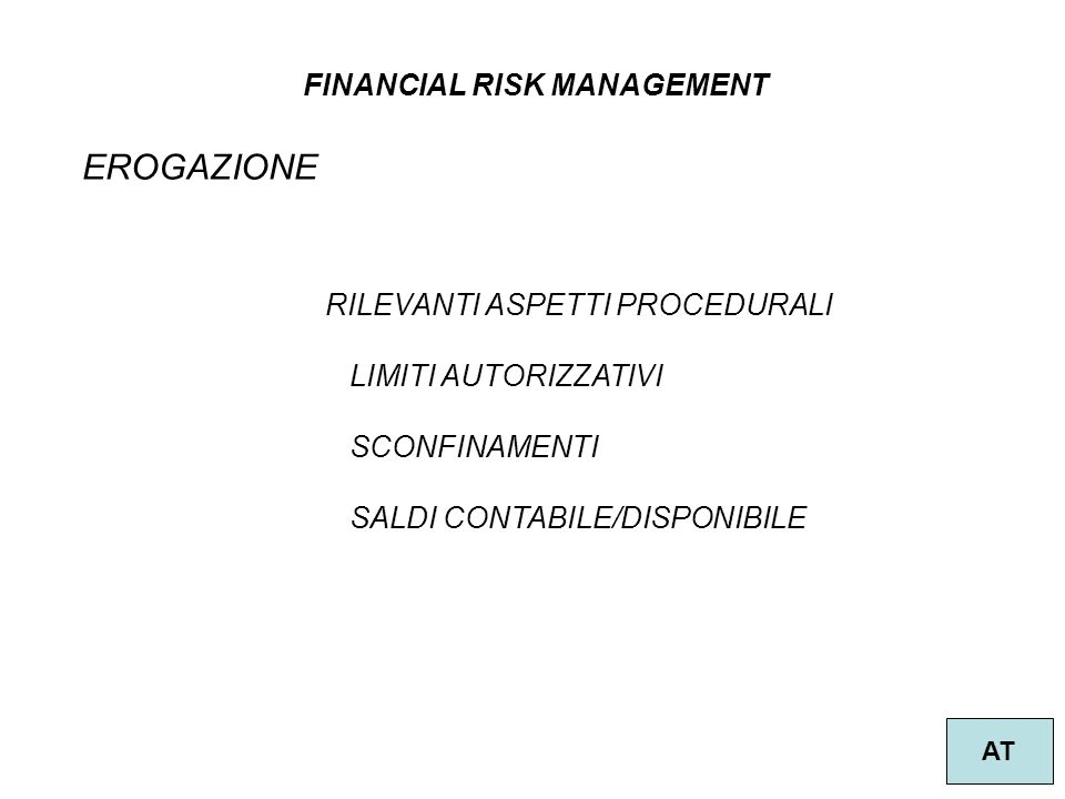 EROGAZIONE FINANCIAL RISK MANAGEMENT RILEVANTI ASPETTI PROCEDURALI