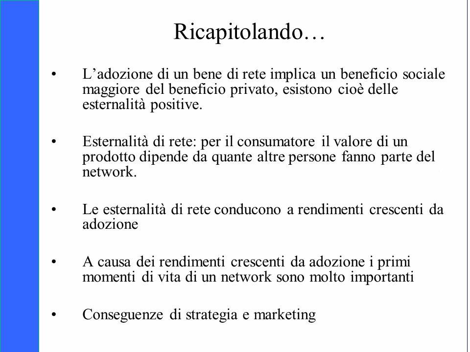 Ricapitolando… L'adozione di un bene di rete implica un beneficio sociale maggiore del beneficio privato, esistono cioè delle esternalità positive.