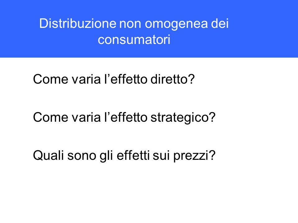 Distribuzione non omogenea dei consumatori