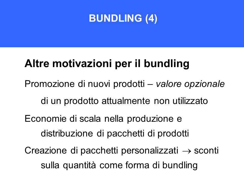 Altre motivazioni per il bundling