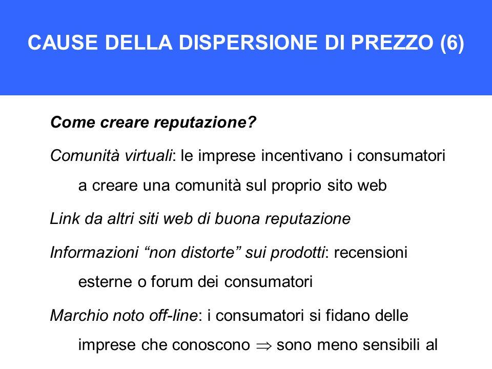 CAUSE DELLA DISPERSIONE DI PREZZO (6)