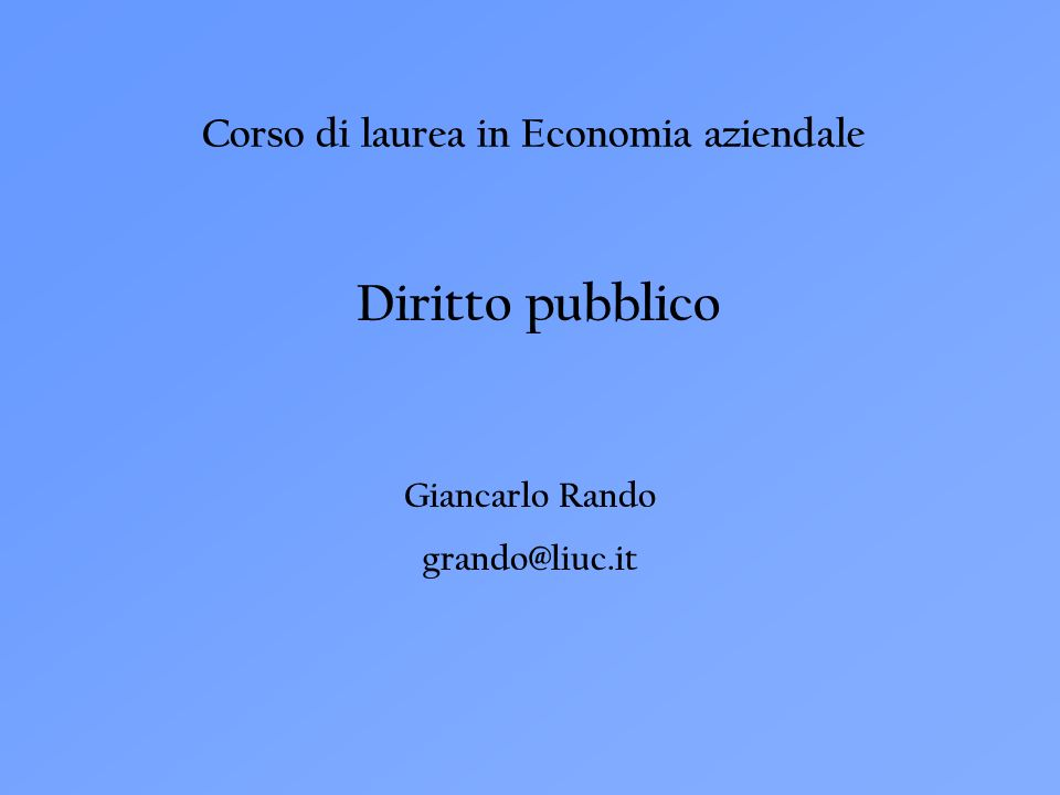 Corso di laurea in Economia aziendale