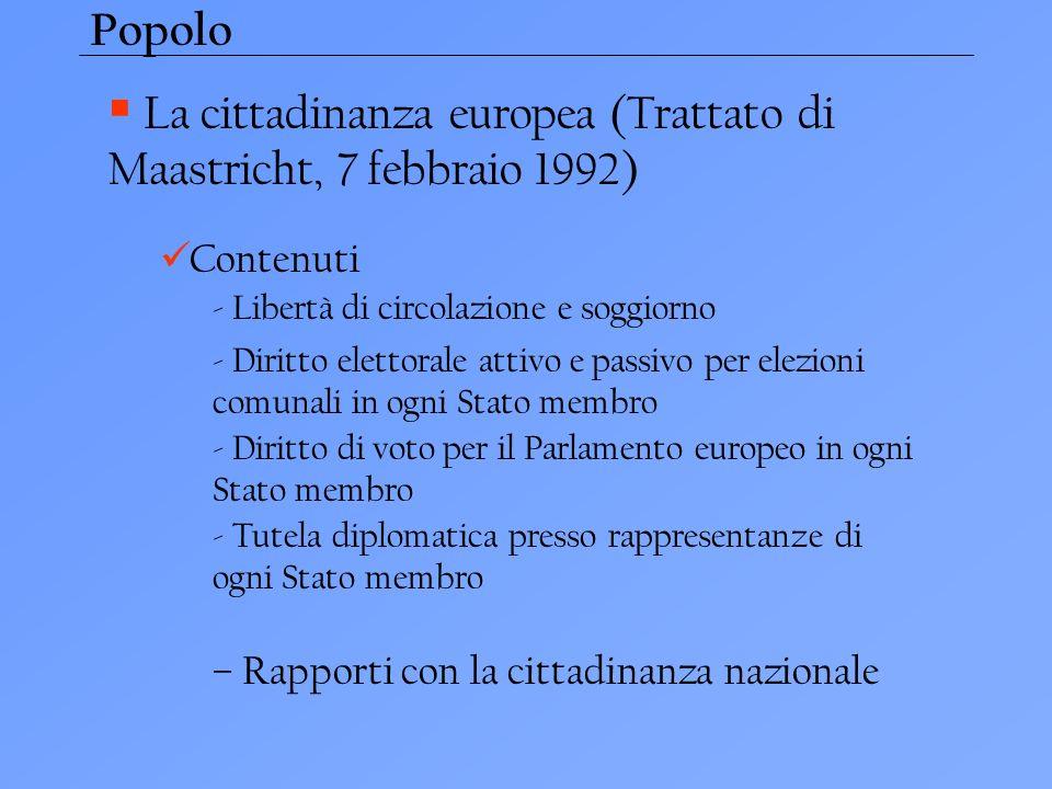 La cittadinanza europea (Trattato di Maastricht, 7 febbraio 1992)