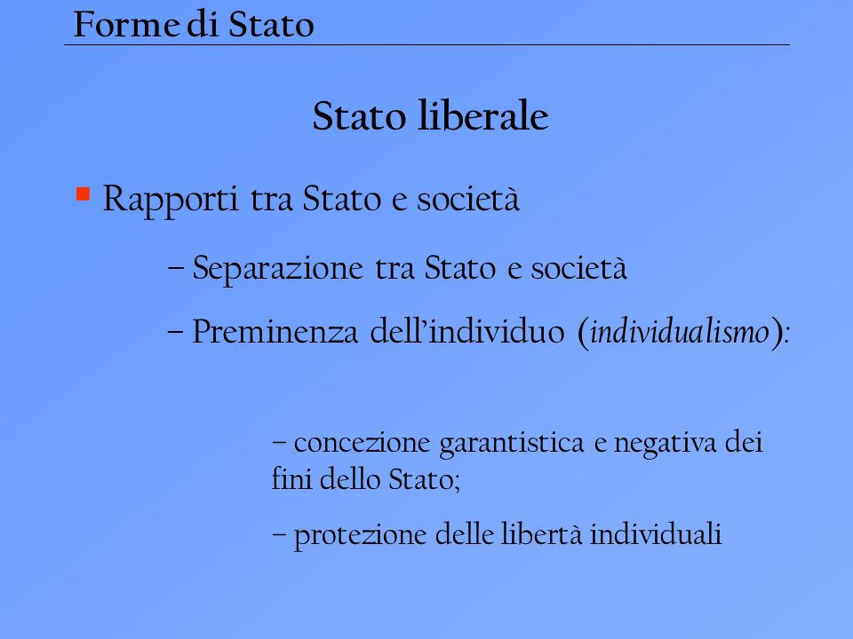 Stato liberale Forme di Stato Rapporti tra Stato e società