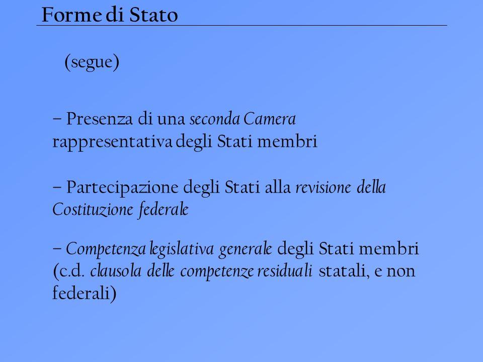 Forme di Stato (segue) – Presenza di una seconda Camera rappresentativa degli Stati membri.