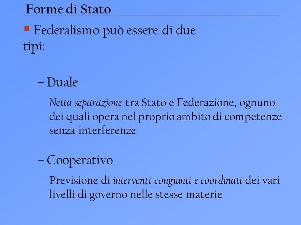 Federalismo può essere di due tipi:
