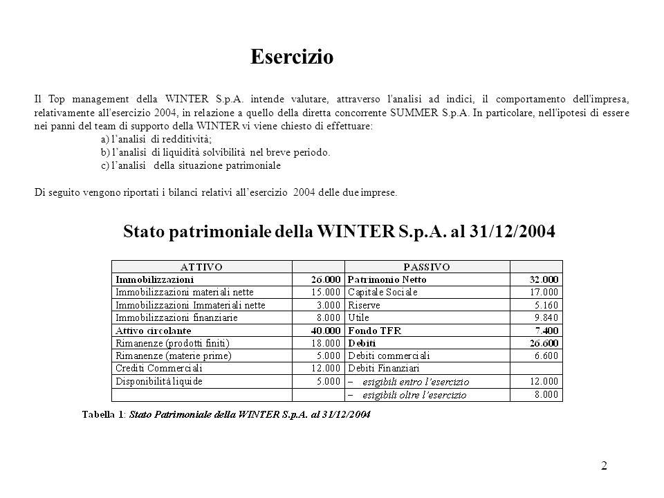 Esercizio Stato patrimoniale della WINTER S.p.A. al 31/12/2004
