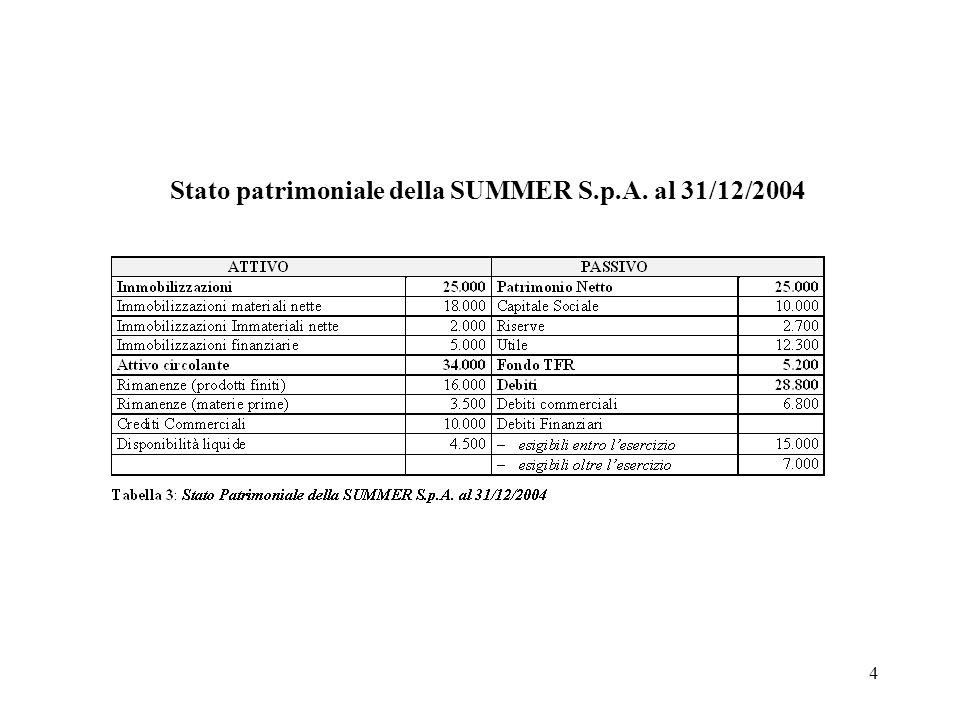 Stato patrimoniale della SUMMER S.p.A. al 31/12/2004